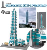 Wholesale Wange Building - 8019 Taipei 101 of Twaiwan Structure Model toy 1511Pcs World Great Architecture Large Wange Building Blocks Toy Bricks Compatible lepin