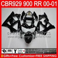 Wholesale Cbr929rr Fairing Kit - Body For HONDA CBR 929RR CBR900RR CBR929RR 00 01 CBR 900RR 67HM2 glossy black CBR929 RR CBR900 RR CBR 929 RR 2000 2001 Fairing kit 8Gifts