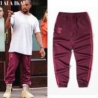 pantolon toptan satış-Toptan-Kanye west Sezon 4 Crewneck Sweatpants S-3XL CALABASAS Pantolon Erkekler gevşek Joggers Rahat Erkekler Elastik Pantolon Hip Hop KMK0050-4