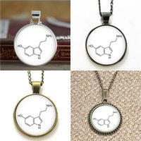 Wholesale chemistry necklace resale online - 10pcs Chemistry Jewelry Dopamine Molecule Chemistry Dopamine Glass Photo Cabochon Necklace keyring bookmark cufflink earring bracelet