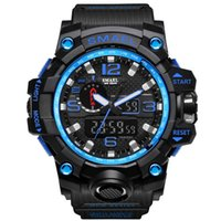 Relógios de esportes para homens SMAEL Marca Dual Display Analog Digital LED Electronic Quartz Relógios de pulso Waterproof Swimming Digital Electronic Watch