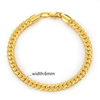 Wholesale Gold Bone Bracelet Men - New Men Bracelet Chain 18K Yellow Gold Plated 6MM 19CM 21CM 22CM Snake Bone Bracelet Chain for Men Hot Gift BRC-043