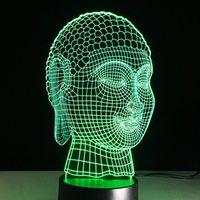 Wholesale Buddha Led Light - Wholesale- Buddha Lampe Creative 3D Visual LED Night Light Color Changing Table Lamp Engraved acrylic Buddhism fixture battery power Lampy