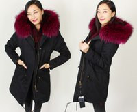 Wholesale Norway Parka Coats - Mrs furs Long Parkas hooded with oversize 100% real raccoon fur Velvet Liner Detachable couples down coat Sweden Norway