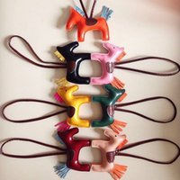 Wholesale cute chain handbags resale online - Tassel Rodeo Horse Bag Charm Pendant For Women Portable Handbag Key Chain Creative Cute PU Bags Ornament Hot Sale wm B