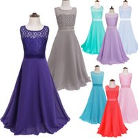 Wholesale Children S Princess Bow Dress - Children 's wedding long dress children lace Bra Top Princess dress girl performance suits age from 4-15T