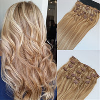 Wholesale highlights hair extensions - Human Hair Extensions Ombre Color Two Tone #18 Ash Blonde Piano #22 Medium Blonde Clip In Human Hair Extensions Highlights