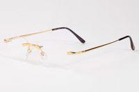 lunettes en or vintage achat en gros de-2017 mode vintage sans monture rectangle cadre en métal doré lunettes Blanc corne de buffle lunettes hommes marque lunettes boîte de cas