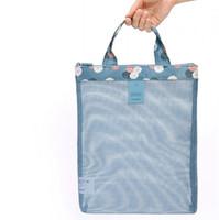 Wholesale Wholesale Mesh Cosmetic Organizer - Wholesale- New brand portable necessaire travel women mesh cosmetic bag make up organizer purse bag handbag toiletry bag