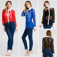 Wholesale Women Sheer Lace Apparel - Big Size New 2017 fashion clothing apparel women tops Sexy Lace Perspective Stand Neck Embroidery Floral Print Spring Summer women t shirt