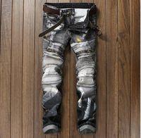 Wholesale Distressed Tops - 2017 Top Famous Distressed patches Biker Cargo Jeans Main Designer Rivets Embroidery Patchworks Men's pants Demin Trousers Vaqueros Hombre