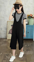 Wholesale Chinese Sale Suits - Hot sale!2017 New In The Big Child Suit Fashion Girls Summer Wide Leg Pants +Striped T-shirt Two Pieces Sets