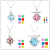 Wholesale Wing Brass Charm - Angel's Wings Aromatherapy Lockets Essential Oil Diffuser Necklace Locket Perfume Cage Necklaces Diffuser Locket Pendants For Gift NX103-1