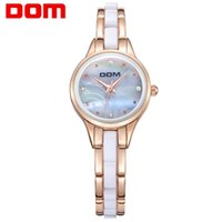 Wholesale Dom Ceramic - DOM Women Ceramic Waterproof Watches Montre Luxury Fashion Watch Quartz Women Fashion Casual Stainless Steel Gold Watches T-588