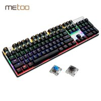 Clavier mécanique 87/104 Anti-ghosting Luminous Blue Black Switch LED Rétroéclairé Wired Gaming Keyboard Autocollants russes
