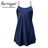 Wholesale Sexy Lingerie Silk Lace - Burvogue Sexy Silk Satin Night Dress Sleeveless Nighties Nightgown Lingerie Nightdress Lace Sleepwear Nightwear For Women
