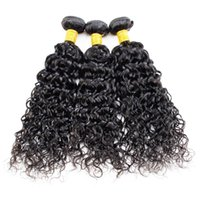 Wholesale Malaysian Hair Tied Weft - Human Hair 3 Bundles With Closure Peruvian Hair Bundles Water Wave Human Hair Lace Closure 4*4 Hand Tied Density 130% Swiss Lace Can Be Dyed