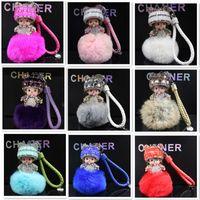 Wholesale monchichi cartoon resale online - 25Colors Handmade Cute Monchichi Keychains Crystal Kiki Pendant Rex Rabbit Fur Pom Pearls Chain For Bag Car Hanging Monchhichi Pendant F885