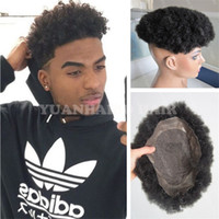 Wholesale men hair toupee quality for sale - High Quality Black Color Peruvian Virgin Hair Afro Kinky Curl Black Men Toupee