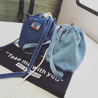 Wholesale Cloth Cross Body Bags Women - Wholesale-Luxury Handbags Women Bags Designer Korean Style Embroidery Vintage Canvaas Women Denim Cloth Mini Bag 2016 Newest Women Bucket