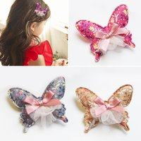 Wholesale Girl Animal Hairclip Hair Bow - New floral Hair Bows Girls Bow Hair Clips baby cloth barrettes kids Hairclips Children Hair Accessories Kids HairClip A902