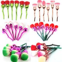 Wholesale flower soft powder for sale – best 3D Rose Flower Shape Makeup Brushes Set Cosmetic Tools Soft Rose Flower Makeup Brush Face Powder Eyeshadow Mermaid Brushes