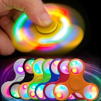 Wholesale Blue Spinning Light - Hand Spinners fidget spinner toy Triangle Finger Spinning Top LED Light Up Hand Spinners Fidget Spinner Top Quality