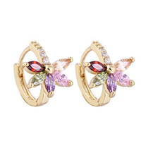 Wholesale Womens Luxury Earrings - Luxury Flower Hoop Earrings 18k Yellow Gold Plated Womens Colorful Shining Crystal Zircon Charming Earring Jewelry for Grils Women