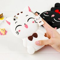 Cute Silicon 3D Lucky Cat Case para Samsung S8 S3 S4 S5 S6 S6Edge S7 S7Edge Note5 4 J5J7 (2017) A3A5A7 Cartoon Animal Lovely Rubber Phone