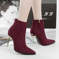 Wholesale Army Heels - Woman Shoes Flock High Heels Zipper Ankle Boots Metal Heel Pointed Toe Martin Boot Botas Feminina Black Gray Wine Red Army Green
