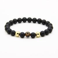 Wholesale Dzi Beads Eye - Religious Jewelry 10pcs lot 8mm Natural A Grade Dzi Eye Stone Beads With 8mm Matte Agate Energy Bracelets