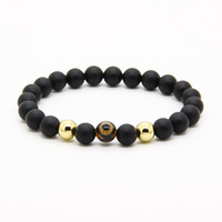 Wholesale Agate Dzi - Religious Jewelry 10pcs lot 8mm Natural A Grade Dzi Eye Stone Beads With 8mm Matte Agate Energy Bracelets