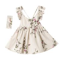 Wholesale Linen Summer Sundresses - Everweekend Girls Summer Floral Print Halter Sundress Party Dress with Headbands Backless Sweet Children Cotton Linen Cute Dress