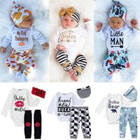 Wholesale China Clothing Wholesale Kids - 14 styles infant clothes kids from china romper 3pcs set cotton newborn long sleeve bodysuit shirt + pants