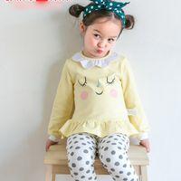 Wholesale Doll Leggings - 2017 New Girls Clothing Sets Cartoon Doll Shirt + Leggings Tights Dots Pants 2piece Set Fashion Sets Korean Princess Girl Outfits Sets A6475