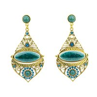 Wholesale Bohemian Style Green Beige Rhinestone Hollow Out Gold Color Ethic Dangle Earrings for Women