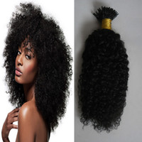 ich tippe remy menschenhaarverlängerungen großhandel-Mongolian kinky lockiges Haar Ich Spitze Haarverlängerungen 100g 100s Afro verworrene lockige Stick Tip Keratin 100% Remy Human Hair Extensions