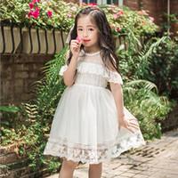 Wholesale Korean Strapless Dress - Lace Girls Dress New Korean Lace Flower Embroidered Strapless Dresses Summer Children Elegant Dresses Kids Princess Dress C1190