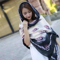 Wholesale Ladies Scarf Veil - 2017 New Beach sunscreen veil Designer Twill Cotton Scarves Big Flower Print Women Long Scarfs Ladies tassel Shawl Wrap hijab