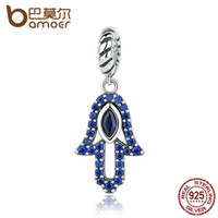 Wholesale Evil Eye Pendant For Bracelet - Wholesale- BAMOER Vintage 925 Sterling Silver Blue Clearly CZ God's Hand Evil Eye Pendant Fit Charm Bracelets for Women Jewelry SCC084