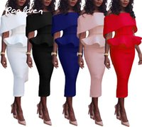 Wholesale Women Midi - Raodaren Women Summer Sexy Bodycon Long Dress 2017 Elegant Casual Off Shoulder Pencil Dresses Plus Size