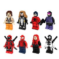 Wholesale Children Hero - 8pcs Lot PG8057 Action Minifigures Deadpool Bat Spider Super Heroes Woman Man Blacklash Building Blocks Children Christmas Gift DIY Toys