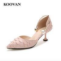 Wholesale Stiletto Heel Snake Patterns - Koovan Fashion Pumps 2017 Summer Pointed 5.5 CM High Heel Women Shoes Small Size 32-40 Pearl Buckle Wineglass Heel Snake Skin Pattern