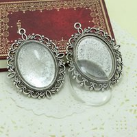 Wholesale Antique Cameo Glass - Best Quality Sweet Bell Antique Silver Plated Alloy Cameo 30*40mm Oval Cabochon Settings+Clear Glass Cabochons A1169(1)