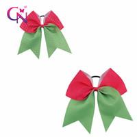 Wholesale School Spirit - 7 Inch Red&Green Jumbo Rhinestone Cheer Bow High Spirit Cheerleading Hair Bow For Cheerleader Girl School Baby