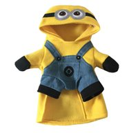 Wholesale Despicable Minion Halloween Costume - Christmas Funny Yellow Minions Dog Clothes Halloween Pet Puppy Costume Suit Cartoon Puppy Cat Coat Jacket Despicable Me 2 Soft Cotton Hoodie