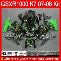 Wholesale Green Flame Fairings Kit Gsxr - 8 Gifts 23 Colors Bodywork For SUZUKI GSXR1000 2007 2008 K7 13HM34 green flames GSXR-1000 07 08 GSX-R1000 GSXR 1000 07 08 Fairing Kit Body