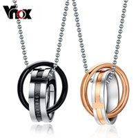 Wholesale Double Loop Chains - Wholesale- Vnox Endless love couple necklace pendant stainless steel double loop couples for wedding christmas jewelry