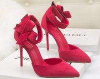 Neue Frauen Bowtie High Heels Bottom Pumps Sexy Braut Party Thick Heel Runde Zehe Red Leder Bottom High Heel Schuhe für Büro Dame