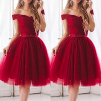 Wholesale simple graduation dresses white - Hot Burgundy Tulle Knee Length Cocktail Dresses 2017 Simple A Line Pleats Off the Shoulder Short Homecoming Gowns 8th Grade Graduation
